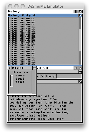Woopsi Debug Console with Scrollbar